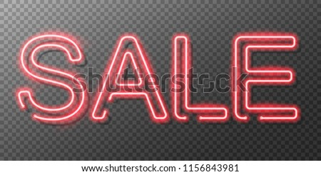 Neon sale sign. Vector illustration.