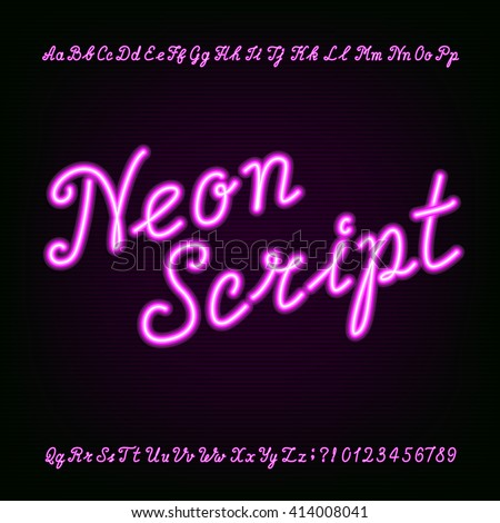 Neon script hand drawn alphabet font. Type letters and numbers on a dark background. Vector typeface for labels, titles, posters etc.