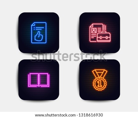 Neon set of Book, Vacancy and Approved document icons. Best rank sign. E-learning course, Hiring job, Like symbol. Success medal. Neon icons. Glowing light banners. Vector