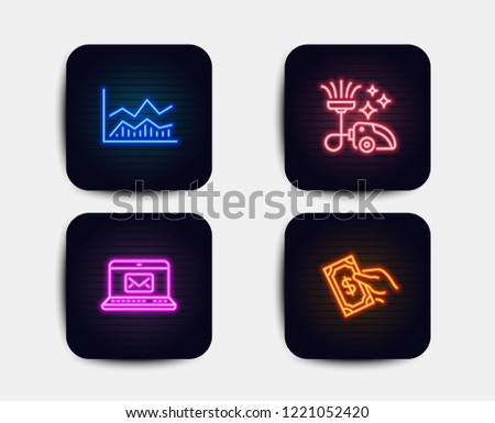 Neon set of E-mail, Trade infochart and Vacuum cleaner icons. Pay money sign. New message, Business analysis, Vacuum-clean. Hold cash. Neon infochart icons. Glowing light banners. Vector