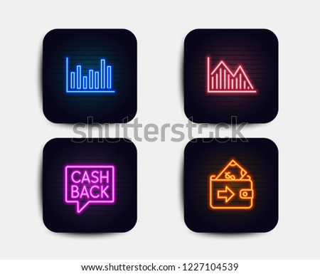 Neon set of Investment graph, Money transfer and Bar diagram icons. Wallet sign. Investment infochart, Cashback message, Statistics infochart. Money payment. Neon graph icons. Vector