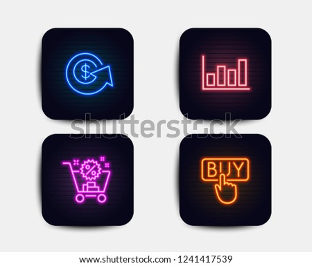 Neon set of Shopping cart, Dollar exchange and Report diagram icons. Buying sign. Discount, Money refund, Financial market. E-commerce shopping. Neon icons. Glowing light banners. Vector