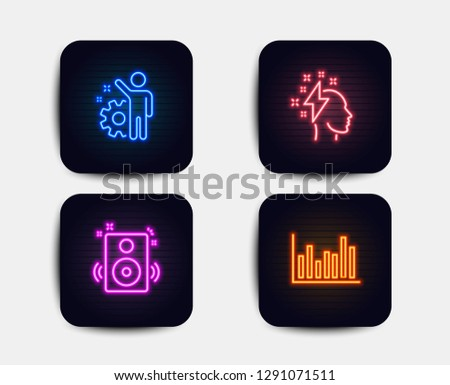 Neon set of Speakers, Brainstorming and Employee icons. Bar diagram sign. Sound, Lightning bolt, Cogwheel. Statistics infochart. Neon icons. Glowing light banners. Vector