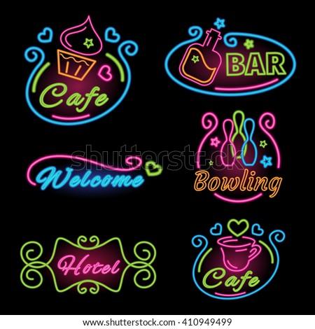 neon set sign for cafes  bar