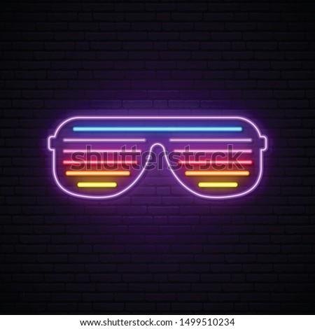Neon shutter glasses sign. Bright vector sunglasses illustration in retro 80s style.