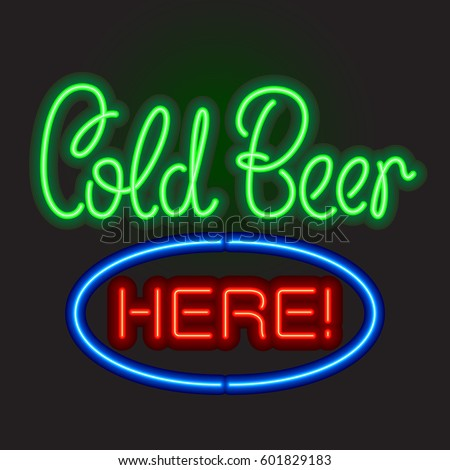 neon sign board cold beer here