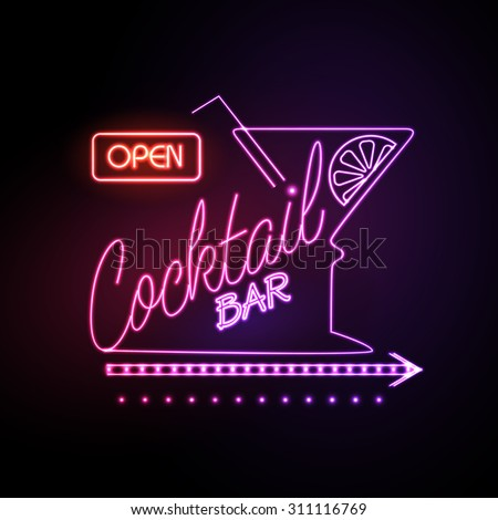neon sign cocktail bar