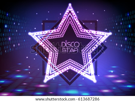 Neon sign disco star on night disco background