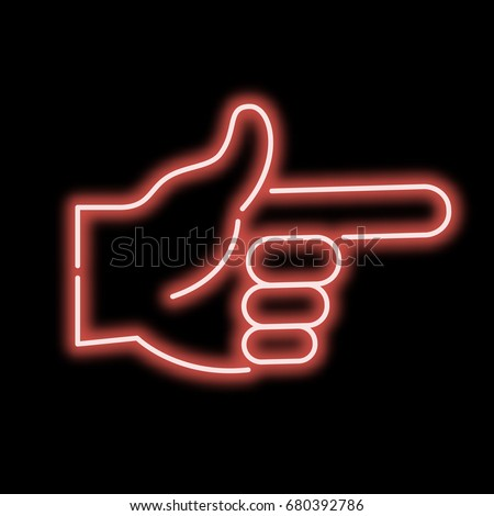 neon sign hand pointing finger