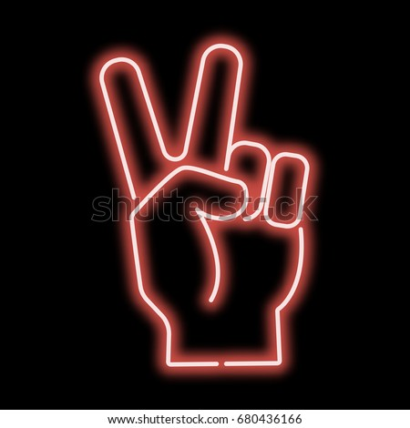 Neon sign hand showing a sign of victory. Red sign on a black background. vector illustration.