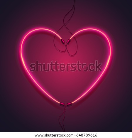 neon sign heart of a red glow