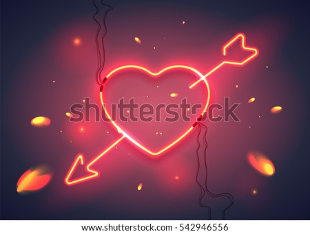 neon sign  heart with arrow on