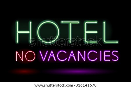 neon sign hotel no vacancies