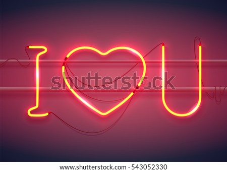 neon sign  i love you with