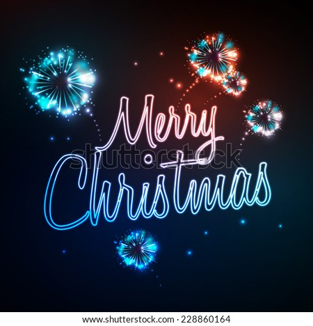 Neon sign. Merry christmas and firework #228860164