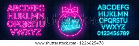 neon sign merry christmas on a