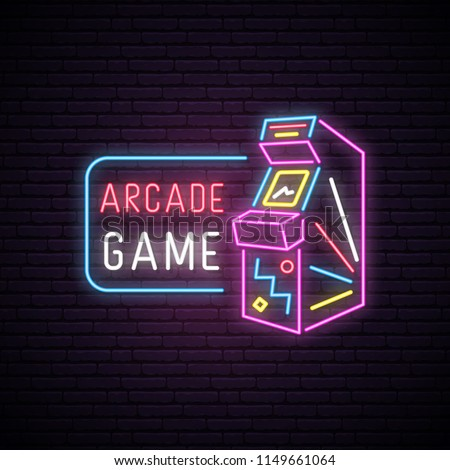 neon sign of arcade game