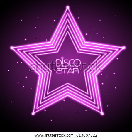 Neon sign of disco star