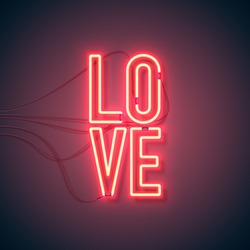 Neon sign. Retro neon Love sign on purple background. Design element for Happy Valentine's Day. Ready for your design, greeting card, banner. Vector illustration.