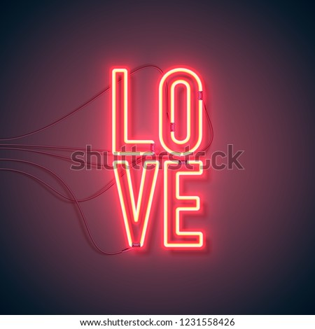 Neon sign. Retro neon Love sign on purple background. Design element for Happy Valentine's Day. Ready for your design, greeting card, banner. Vector illustration. stock photo