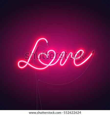 neon sign  the word love with