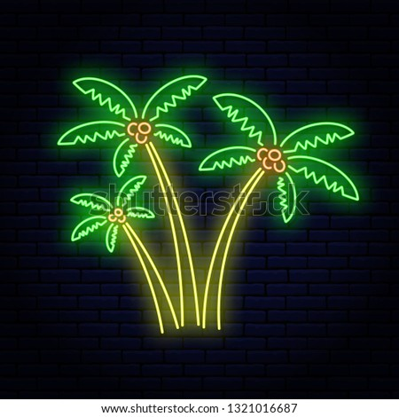 neon sign  three palm trees of