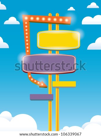 neon sign with blue sky