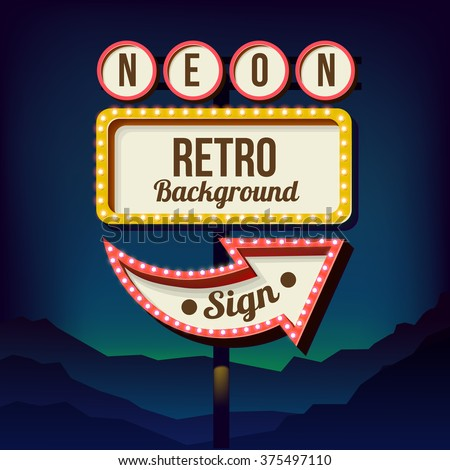 neon sign with lights  retro
