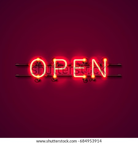 Neon sign with text open, entrance is available. Vector illustration