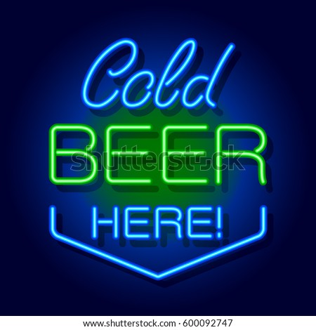 neon signboard cold beer here