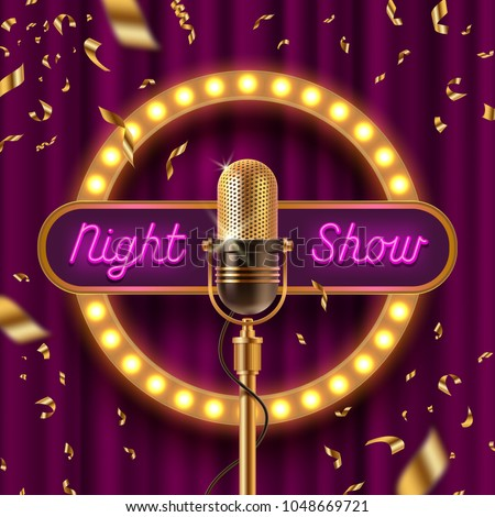 Neon signboard, fame with light bulbs and Retro microphone on stage gainst the purple curtain and falling golden confetti. Vector illustration.