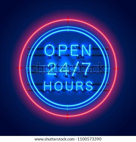 neon signboard 24 7 open hours