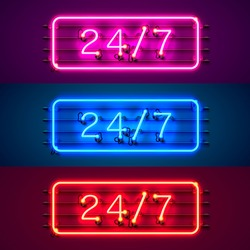 Neon signboard 24 7 open time color set. Vector illustration