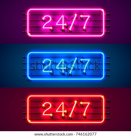 neon signboard 24 7 open time