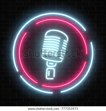 Neon signboard with microphone in round frame. Nightclub with live music icon. Glowing street sign of bar with karaoke and live singers. Sound cafe icon. Rock show poster. Vector illustration.
