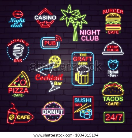 Neon signboards for night and casino clubs, karaoke and sushi bars, restaurants with tasty fastfood, craft beer and cocktails vector illustrations.