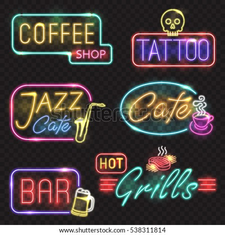 Neon signs. Vector neon lights illustrations icons for bar, tattoo, coffee, grills, jazz cafe designs.