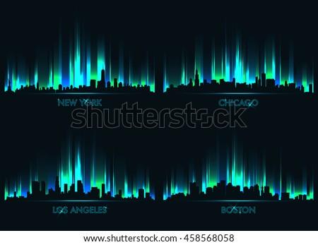 neon skyline american cities