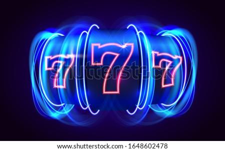 Neon slot machine coins wins the jackpot. 777 Big win casino concept. Vector illustration Foto stock ©