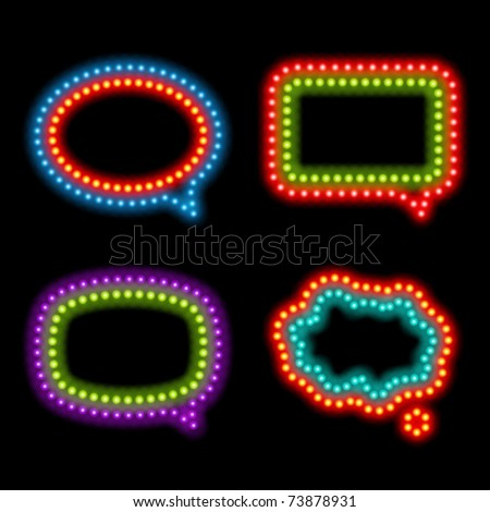 Neon speech bubbles set . Vector illustration Eps 10. - stock vector