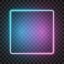 Neon square frame, blue and pink, isolated on transparent background, vector illustration.
