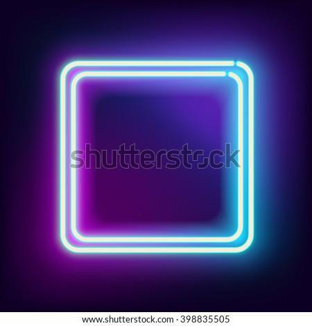 neon square neon blue light