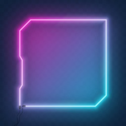 Neon square tech sci fi hologram frame, border with wire. Neon lights sign. Vector abstract background, tunnel, portal. Geometric glow outline rectangular shape, laser glowing lines.