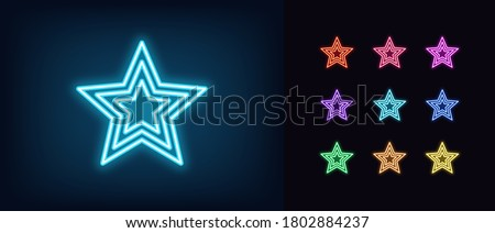 neon star icon glowing neon