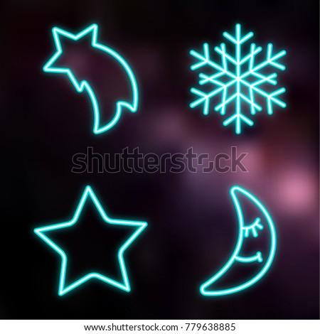 neon style christmas icon set