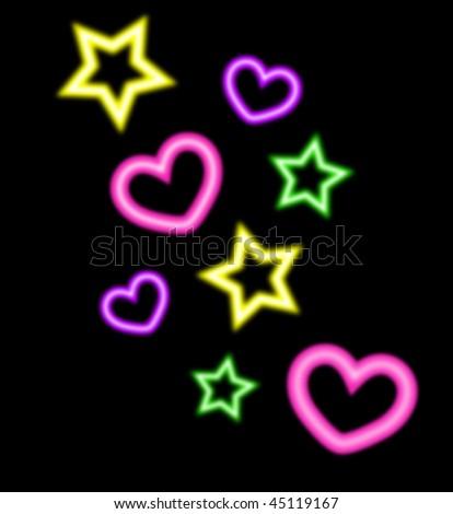 Neon Hearts And Stars Neon Style Hearts And Stars