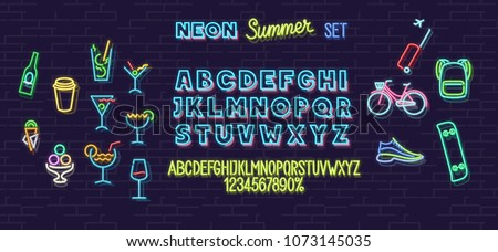 neon summer icons and font set
