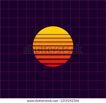 neon sun vector 80 s retro