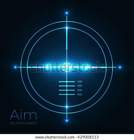 Neon Target on Blueprint Background. Game Interface Element. Vector illustration