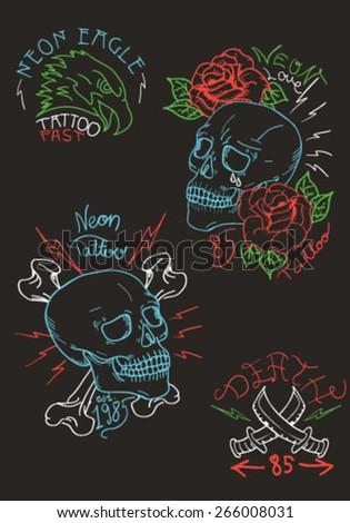 neon tattoo vector set